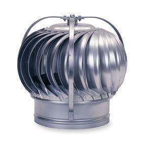 Wind-Driven Turbine Ventilator: 4 in Throat Dia, 126 cfm, 12 in Overall Ht, 10 1/4 in Overall Wd, 10.25 in Overall Lg