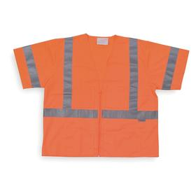 High-Visibility Vest: Polyester, Orange, Zipper, 6 Pockets, Short Sleeve Lg Type, Unisex, 49 in Max Chest Size, M Size