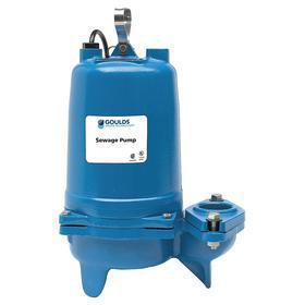 Submersible Sewage Pump: 1/2 hp Input Horsepower, Manual, Continuous Motor Duty Class, Cast Iron, 3 Phase, 460V AC, 19 ft Max Head
