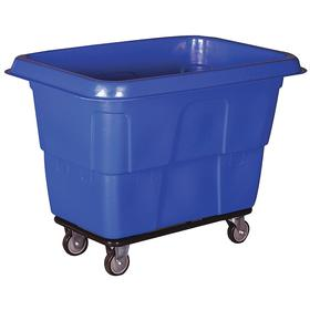 Cube Truck: 16 cu ft Max Volume Capacity (cu ft), Corner Caster Configuration, (2) Swivel & (2) Rigid Casters, Blue