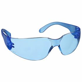 Radians Safety Glasses: Blue, Wraparound Frame, Scratch Resistant, Clear/Light Blue, ANSI Z87.1, Polycarbonate, Unisex