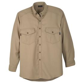 Workrite Flame-Resistant Collared Shirt: 2 Hazard Risk Category (HRC), 8.7 cal/sq cm Max Arc Flash Protection, Cotton/Nylon, Khaki, Button, 2 Pockets