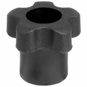 Clamping Control Knob with Hex-Locking Hole: Fluted, Thermoplastic, Matte, 1/4 in ID, 1 3/8 in Handle Dia, 7/8 in Base Dia, 1 3/16 in Overall Ht