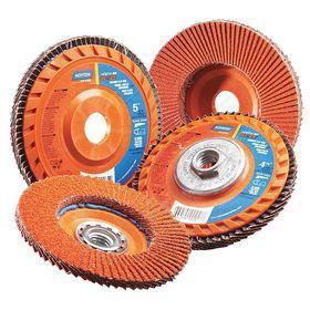 Norton Aluminum Oxide Flap Disc: Unthreaded Center Hole, Fine Relative Grit Grade, 4 1/2 in Disc Dia, Ceramic Alumina