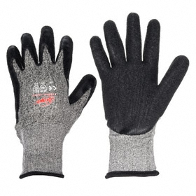 MCR Work Glove: Coated Fabric Glove, ANSI Cut-Resist Level 3, Knit Cuff, Acrylic/Dyneema, Bi-Polymer, Smooth, 1 PR