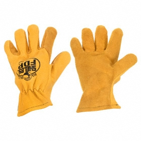 Heat-Resistant Glove: Leather Drivers Glove, L Size, Shirred Cuff, Elkskin, Thermal, Tan, 1 PR
