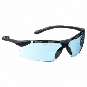 Safety Glasses: Gray, Half Frame, Scratch Resistant, Black, ANSI Z87.1-2010, Nylon, Chemical Handling, 6 in Arm Lg
