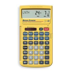 Construction Calculator: 42 Key, 11 Display Digits, 5 11/16 in Lg, 3 in Wd, 5/8 in Dp, Solar/Battery Power Source