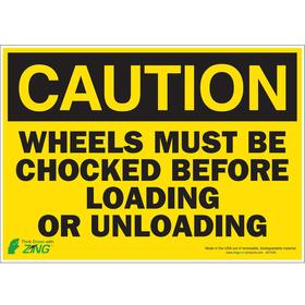 Shipping & Receiving Sign: Caution, 10 in Overall Ht, 14 in Overall Wd, Polyester, Self-Adhesive