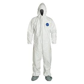 DuPont Hooded Coverall: Tyvek, White, Zipper, 62.75 Max Chest, 34.5 in Inseam Lg, 6XL Size, 59.25 Min Chest, 25 PK