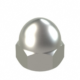 """Low Crown Acorn Nut: 316 Stainless Steel, 3/8""""-16 Thread Size, 3/8 in Thread Dp, 5/8 in Overall Ht"""