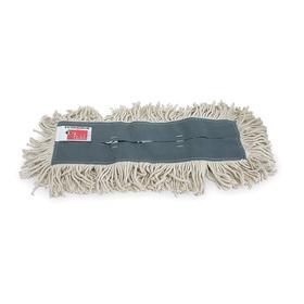 Dust Mop Head: Cut End, White, Lightweight Cotton, Slip On, 24 in Lg, 5 in Wd
