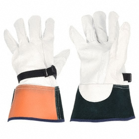 Leather Protector for Electrical Glove: 10 Size, Goatskin, 12 in Glove Protector Lg, Cream/Green/Orange, 1 PR
