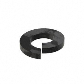 Split Lock Washer: Steel, Black Oxide, For M8 Screw Size, 8.1 mm ID, 14.8 mm OD, 2 mm Thickness, 100 PK