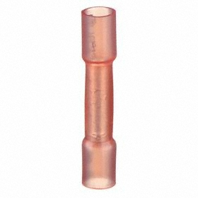 TE Vinyl-Insulated Butt Splice: Crimp Termination, 600V AC, For 22 AWG Min Wire Size, For 18 AWG Max Wire Size, 10 PK