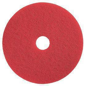 Floor Cleaning Pad: Red, Wet or Dry, Buffing/Cleaning, For 17 in Machine Size, Buffing, 350 RPM Max Speed, Medium, 5 PK
