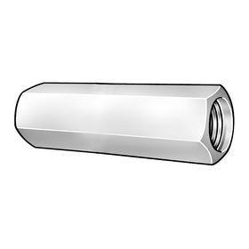 """Hex Coupling Nut: 18-8 Stainless Steel, 5/16""""-18 Thread Size, Fully Threaded, 1/2 in Wd, 7/8 in Ht, 5 PK"""