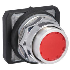 Push Button Operator: Extended Operator, Non-Illuminated, Momentary, Heavy Duty Operator Interface, Chrome, Red, Plastic