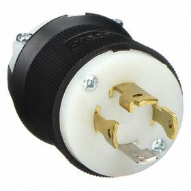 Hubbell NEMA Turn-Locking Plug General Use: 4 Blades, L14-30 NEMA Configuration, 125/250V AC, 30 A Current, Black/White