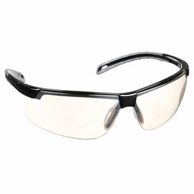 Pyramex Safety Glasses: Gray Mirror, Half Frame, Anti-Fog/Scratch Resistant, Black, ANSI Z87.1, Polycarbonate