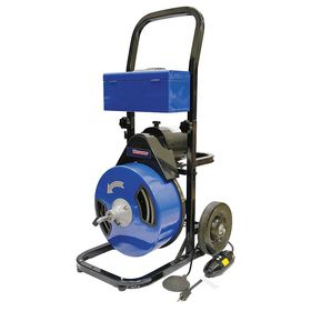 Continuous-Cable Drain Cleaning Machine: 120 V AC Volt, Manual, 75 ft For Max Run, 1 1/2 in For Min Compatible Drain Dia
