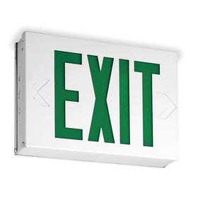 Acuity Lithonia Lighted Exit Sign: 1/2 Faces, Directional Indicators, Green, 7 7/8 in Overall Ht, 12 1/2 in Overall Lg