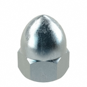 "High Crown Acorn Nut: Steel, Zinc Plated, 3/8""-24 Thread Size, 15/32 in Thread Dp, 25/32 in Overall Ht, 10 PK"