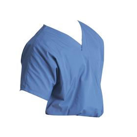 Scrub Shirt: Pullover, 27.75 in Overall Lg, M Size, Polyester/Cotton, Blue, Short Sleeve Lg Type, 1 Pockets, Open