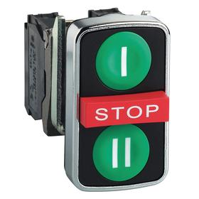 Schneider Electric I/O Push Button Switch: 3 Operators, 22 mm Panel Cutout Dia, Non-Illuminated, I/Stop/II, Green/Red
