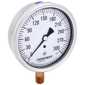 Analog Pressure Gauge: Bottom, 1/4 in Gauge Port Size, MNPT Gauge Connection Type, 3 1/2 in Dial Dia, psi, 0 psi Min Primary Pressure, U-Clamp