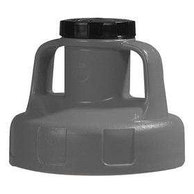 Quick-Identify Lid: Round, Pump/Pour, Gray, High-Density Polyethylene, 5 13/16 in Lid OD, 4 3/4 in Overall Ht