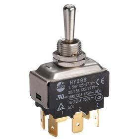 General Duty Toggle Switch: Non-Illuminated, 3 Positions, 20 A @ 125V AC Switch Rating, 2 Poles, On-Off-On, DPDT, Momentary