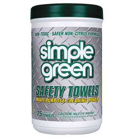 Simple Green Degreasing Wipe: Gen Purpose, 75 Sheets per Pack, 12 in Sheet Lg, 10 in Sheet Wd, Canister