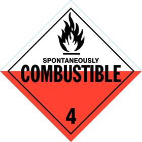 Stranco DOT Vehicle Placard: Spontaneously Combustible, 10 3/4 in Overall Ht, 10 3/4 in Overall Wd, Plastic, Red/White