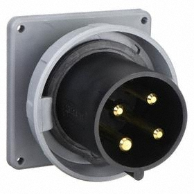 Hubbell IEC Non-Metallic Watertight Pin & Sleeve Male Receptacle: Three Phase, 4 Contacts, 60 Hz Volt Freq, 60 A Current, 600V AC