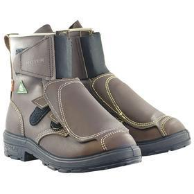 Royer Leather Work Boot: Men, Aluminum Alloy, 9 in Shoe Ht, Brown, Metatarsal Guard/Puncture Resistant, 3E Shoe Wd, 1 PR