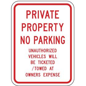 Lyle No Parking Sign: 24 in Overall Ht, 18 in Overall Wd, Aluminum, High Intensity, English, Text, Gen Information, Red