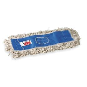 Dust Mop Head: Cut End, White, Washable Cotton, Slip On, 18 in Lg, 5 in Wd