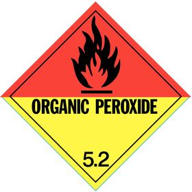 DOT Hazardous Material Label: Organic Peroxide 5.2, 4 in Label Ht, 4 in Label Wd, Paper, 500 PK