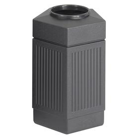 Decorative Outdoor Trash Container: 45 gal Capacity, Open, Plastic, Black, UV Protectant, 23 in Overall Lg