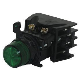 Eaton Pilot Light: 120V AC, 2.03 in Overall Lg, Full Volt, Green, For LED, 10000000 hr Avg Life, Black, Screw Clamp