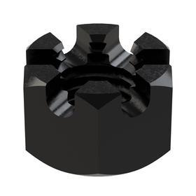 """Hex Castle Nut: Steel, Plain, Grade 8 Material Grade, 3/4""""-10 Thread Size, 1 1/8 in Wd, 41/64 in Ht, 5 PK"""