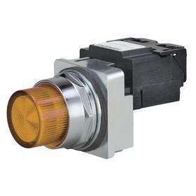 Siemens Pilot Light Complete Unit: 120V AC, Transformer, Amber, For 6 V AC, Includes Bulb, For LED, Chrome, LED, Plastic