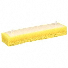 Wet Mop Head: Quick Change, Pad, Cellulose, Yellow, White, Plastic, Sponge, 5 in Overall Lg, 2 in Overall Wd