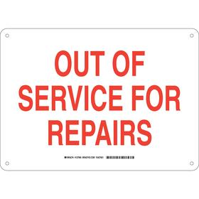 Brady Maintenance Sign: 10 in Overall Ht, 14 in Overall Wd, Aluminum, Mounting Holes
