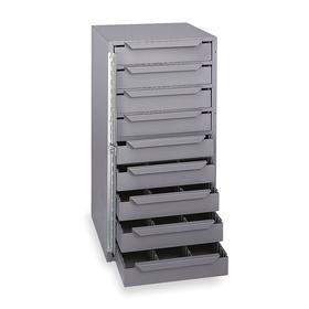 Truck Storage Drawer Cabinet: 9 Drawers, 24 1/2 in Overall Ht, 12 5/8 in Overall Wd, 12 1/8 in Overall Dp, Steel
