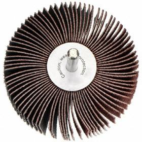 Flap Wheel: Medium Relative Grit Grade, Unthreaded Shank, 3/8 in Wheel Dia, 3/8 in Face Wd, 1/8 in Shank Dia, 80 Grit