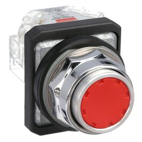Non-Illuminated Push Button: 10 A @ 600V AC Contact Rating, Flush Operator, 1NO/1NC Pole-Throw Configuration, Momentary, Red