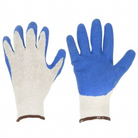Work Glove: Coated Fabric Glove, L Size, Palm Dip, Cotton, Latex, Textured, Knit Cuff, Blue/Cream, 1 PR