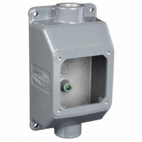 Hubbell Conduit Box: 30 A Amperage, 48 cu in Capacity, Gray, 1 in Compatible Trade Size, Threaded, Die-Cast, Painted